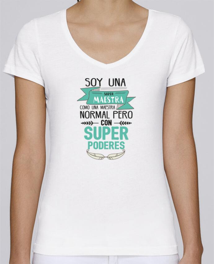 T-shirt Femme Col V Stella Chooses Super maestra par tunetoo