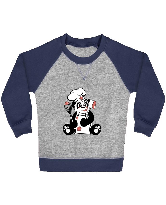 Sweat Shirt Bébé Col Rond Manches Raglan Contrastées Panda Pot'Chef par CoeurDeChoux