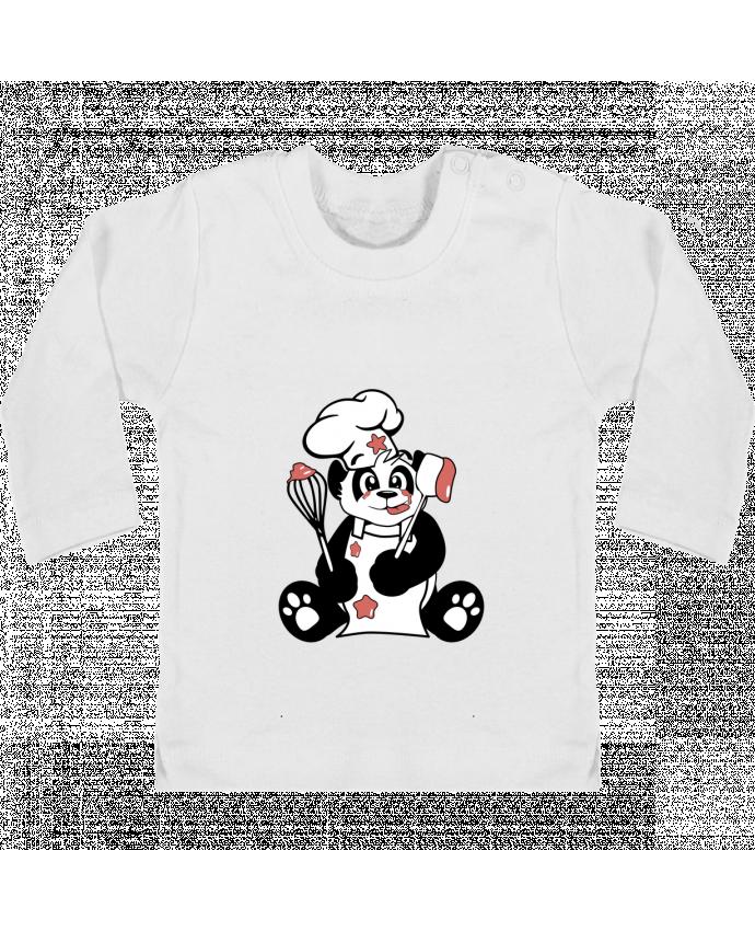 T-shirt Bébé Manches Longues Boutons Pression Panda Pot'Chef manches longues du designer CoeurDeChoux