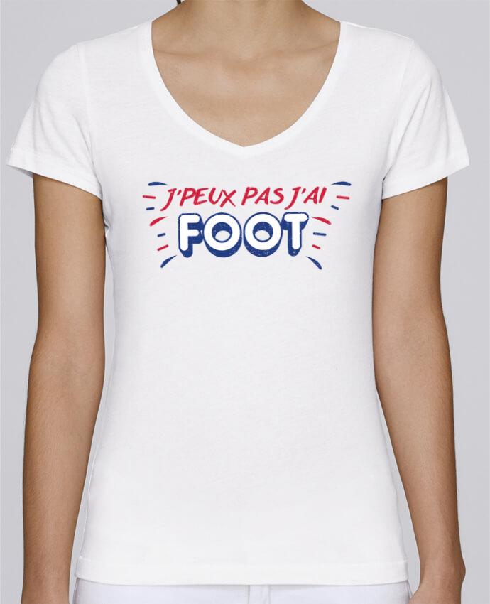 T-shirt Femme Col V Stella Chooses J'peux pas j'ai foot par tunetoo