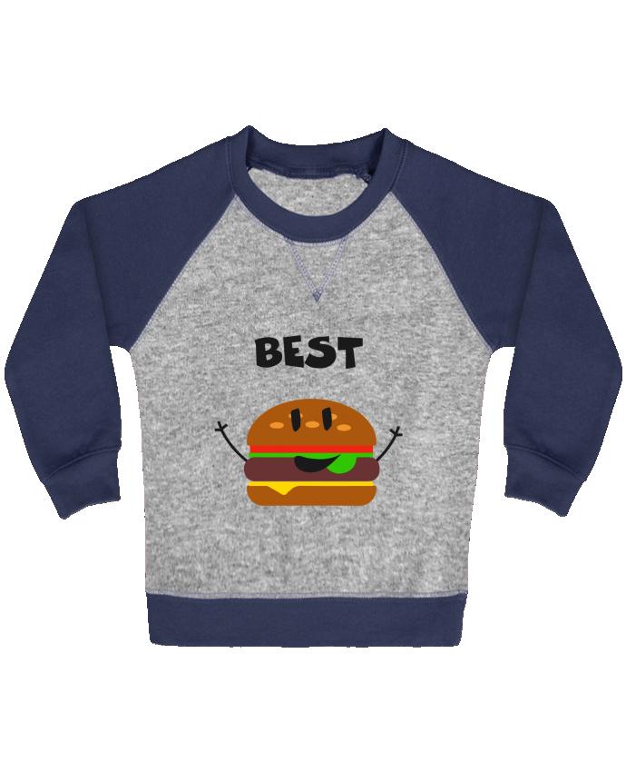 Sweat Shirt Bébé Col Rond Manches Raglan Contrastées BEST FRIENDS BURGER 1 par tunetoo