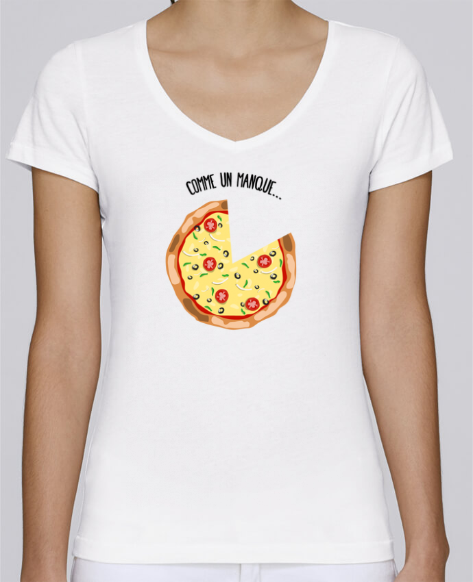 T-shirt Femme Col V Stella Chooses Pizza duo par tunetoo