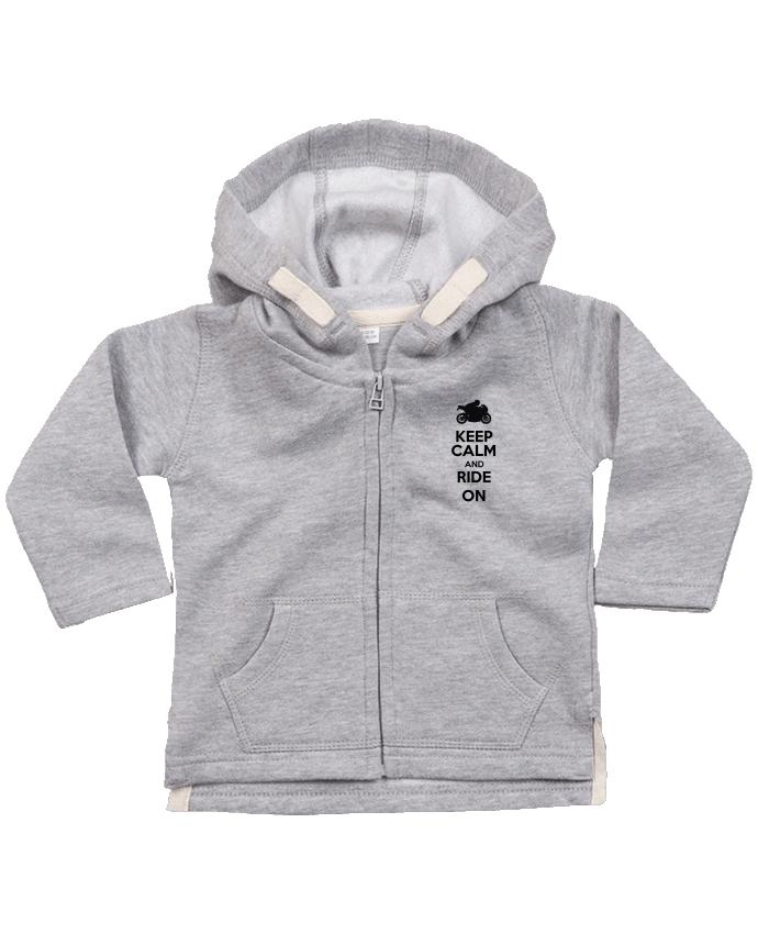 Sweat Bébé Zippé à Capuche Keep calm Moto par Original t-shirt