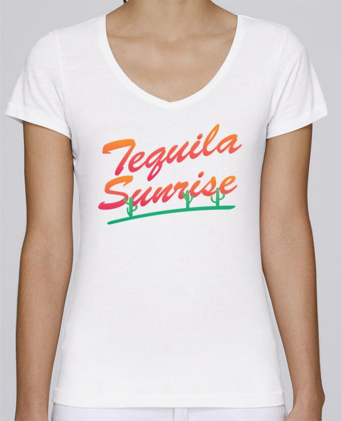 T-shirt Femme Col V Stella Chooses Tequila Sunrise par tunetoo