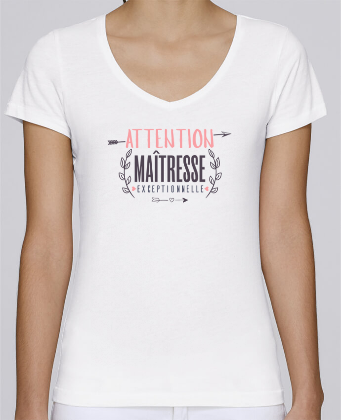 T-shirt Femme Col V Stella Chooses Attention maîtresse exceptionnelle par tunetoo