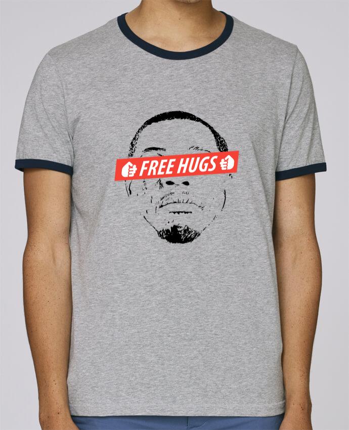 T-Shirt Ringer Contrasté Homme Stanley Holds Free Hugs pour femme par tunetoo