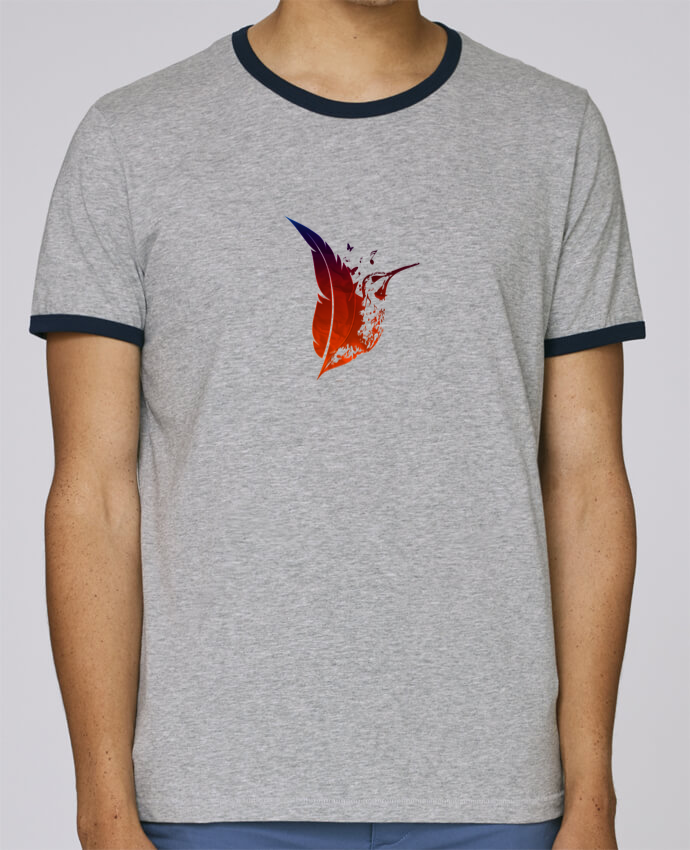 T-Shirt Ringer Contrasté Homme Stanley Holds plume colibri pour femme par Studiolupi