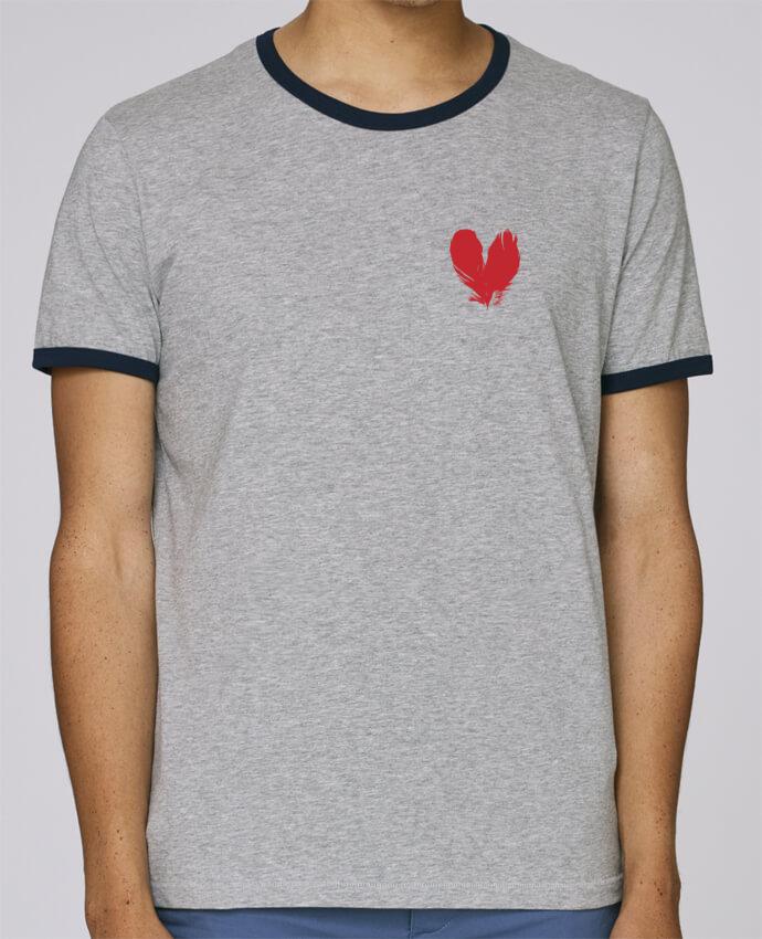 T-Shirt Ringer Contrasté Homme Stanley Holds coeur de plumes pour femme par Studiolupi