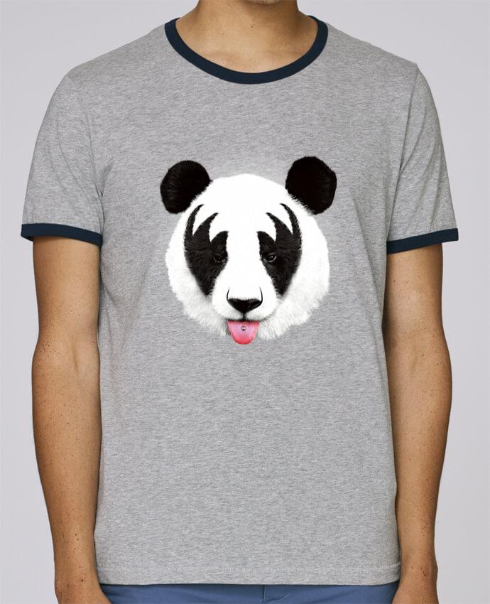 T-Shirt Ringer Contrasté Homme Stanley Holds Kiss of a panda pour femme par robertfarkas
