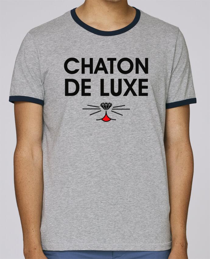 T-Shirt Ringer Contrasté Homme Stanley Holds Chaton de luxe pour femme par tunetoo