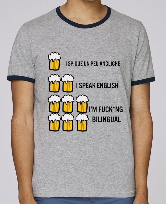 T-Shirt Ringer Contrasté Homme Stanley Holds I'm bilingual pour femme par Kudice