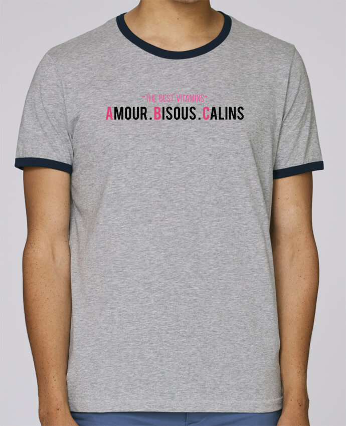 T-Shirt Ringer Contrasté Homme Stanley Holds -THE BEST VITAMINS - Amour Bisous Calins, version rose pour femme par tunetoo