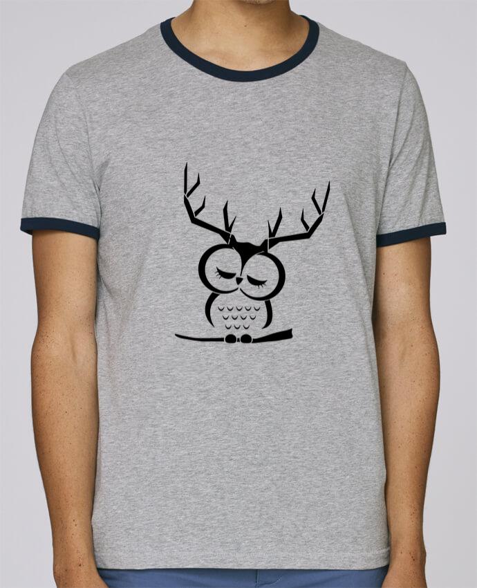 T-Shirt Ringer Contrasté Homme Stanley Holds Hibou cerf pour femme par Ikare
