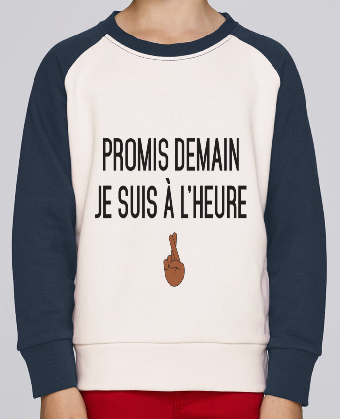Sweat Shirt Col Rond Enfant Stanley Mini Contrast Promis demain je suis à l'heure - black version par tunetoo