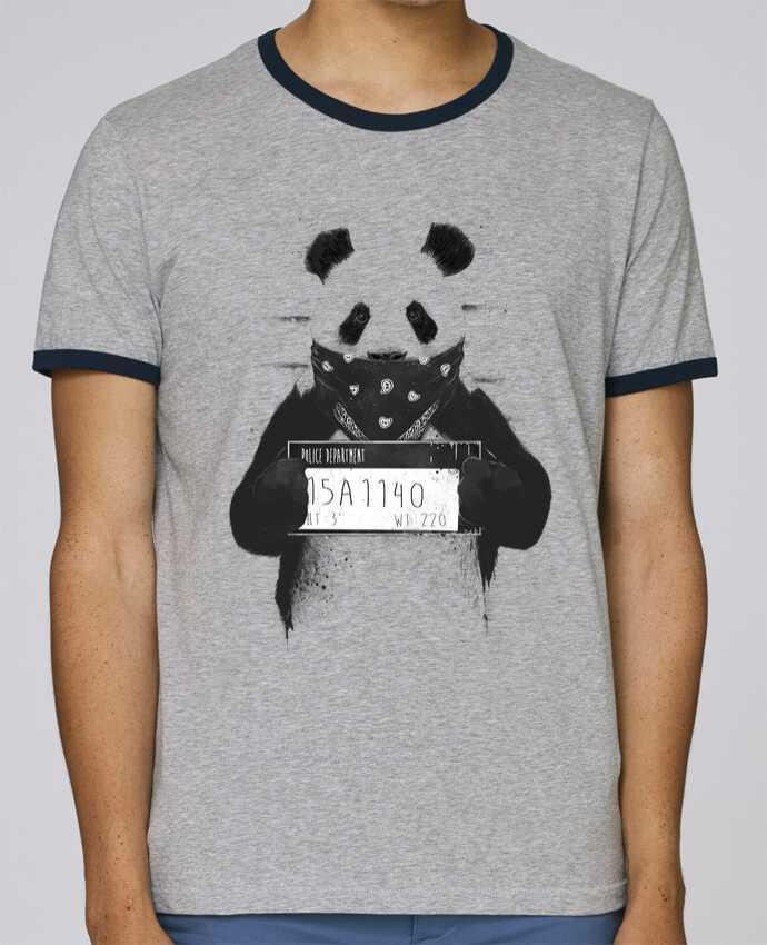 T-Shirt Ringer Contrasté Homme Stanley Holds Bad panda pour femme par Balàzs Solti