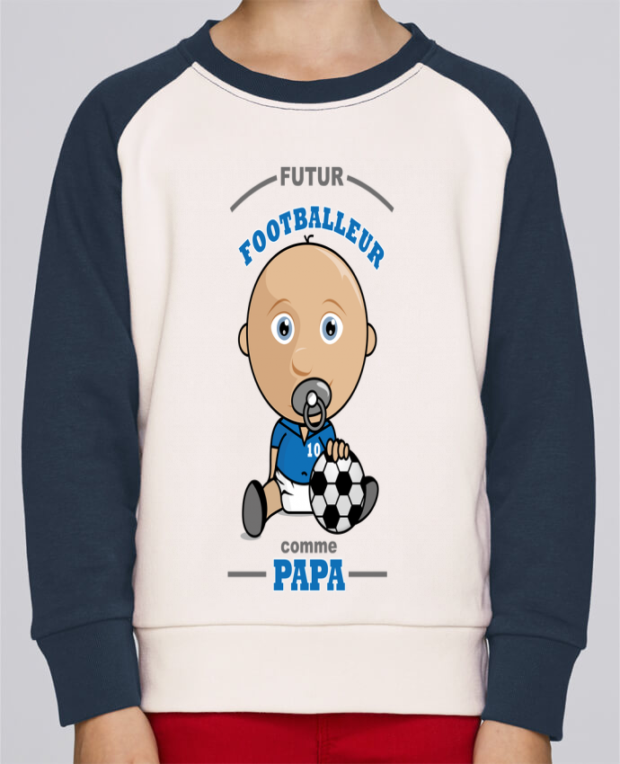 Sweat Shirt Col Rond Enfant Stanley Mini Contrast Futur Footballeur comme papa par GraphiCK-Kids