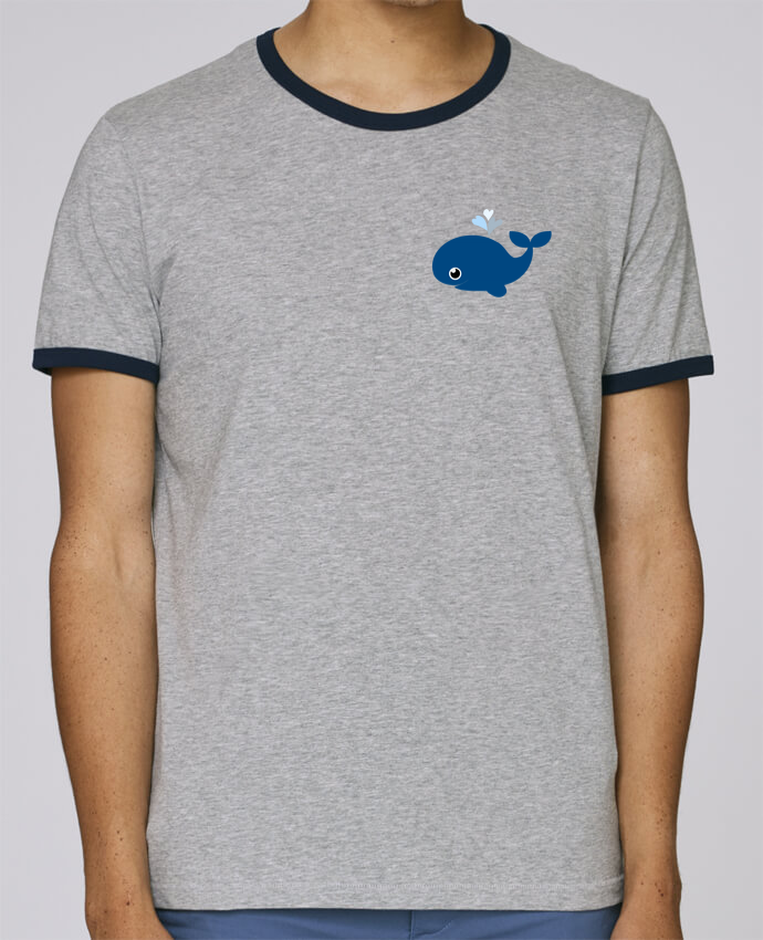 T-Shirt Ringer Contrasté Homme Stanley Holds Baleine coeur pour femme par WBang