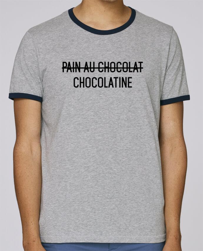 T-Shirt Ringer Contrasté Homme Stanley Holds Chocolatine pour femme par tunetoo