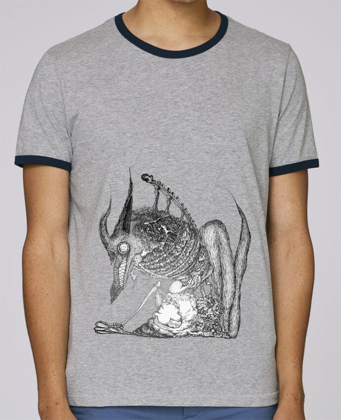 T-Shirt Ringer Contrasté Homme Stanley Holds Loup pour femme par Goulg