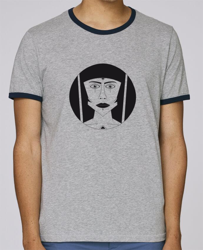 T-Shirt Ringer Contrasté Homme Stanley Holds Visage géométrique pour femme par Ambrestr