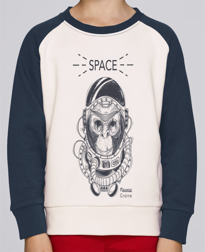 Sweat Shirt Col Rond Enfant Stanley Mini Contrast Monkey space par Mauvaise Graine