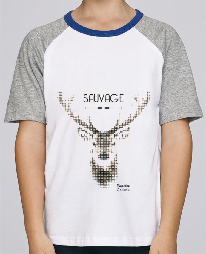 Tee-Shirt Enfant Stanley Mini Jump Short Sleeve Tête de cerf sauvage par Mauvaise Graine