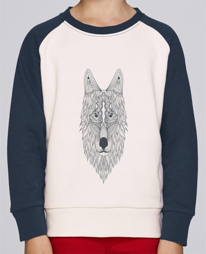 Sweat Shirt Col Rond Enfant Stanley Mini Contrast Wolf par Bichette