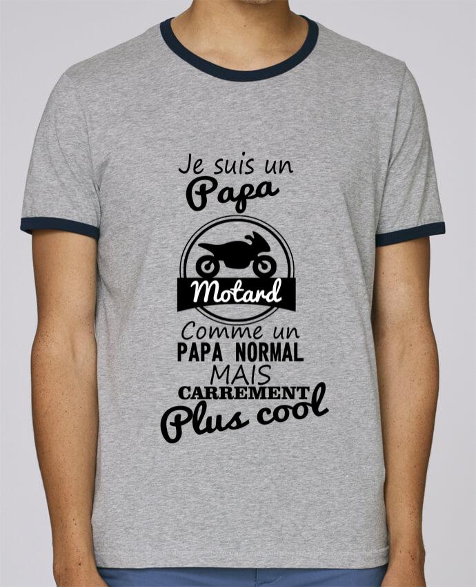 T-Shirt Ringer Contrasté Homme Stanley Holds Papa motard, cadeau père, fête des pères, moto pour femme par Benichan