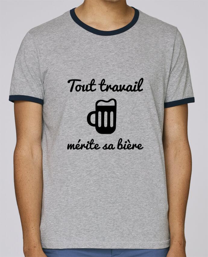 T-Shirt Ringer Contrasté Homme Stanley Holds Tout travail mérite sa bière, humour, citations pour femme par Benichan