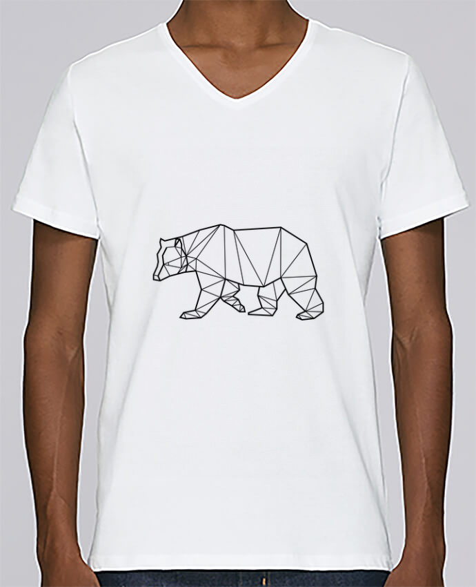 T-shirt Col V Homme Stanley Relaxes Bear Animal Prism par Yorkmout