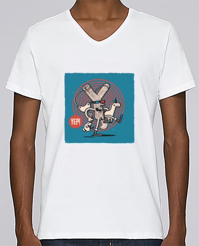 T-shirt Col V Homme Stanley Relaxes YEP! Lance Pierre 3D par YEP!