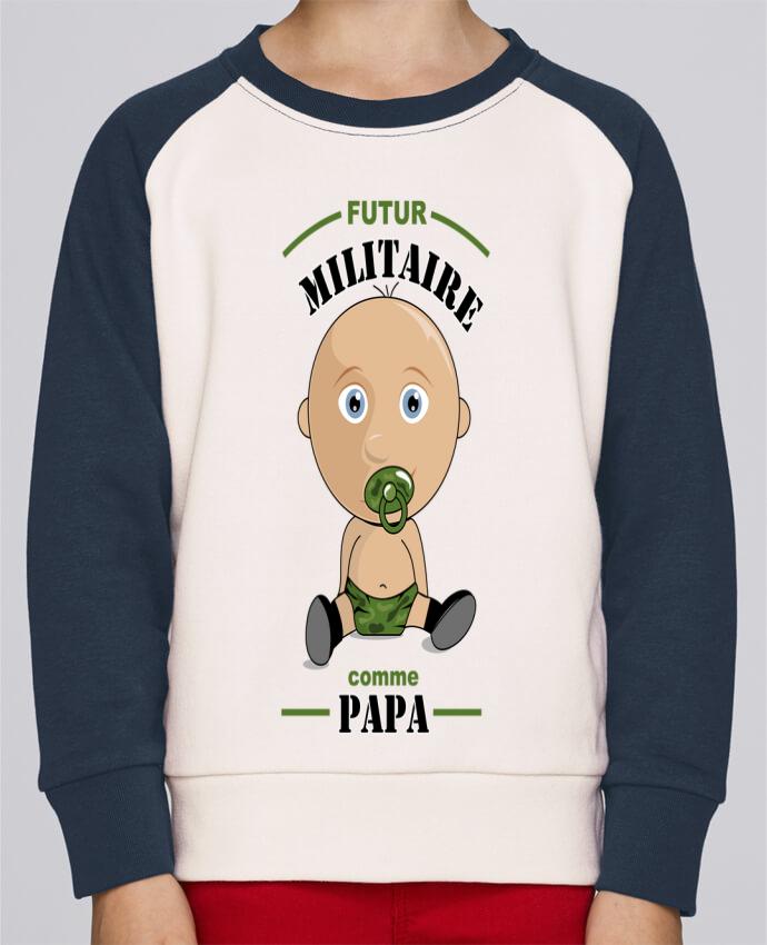 Sweat Shirt Col Rond Enfant Stanley Mini Contrast Futur militaire comme papa par GraphiCK-Kids