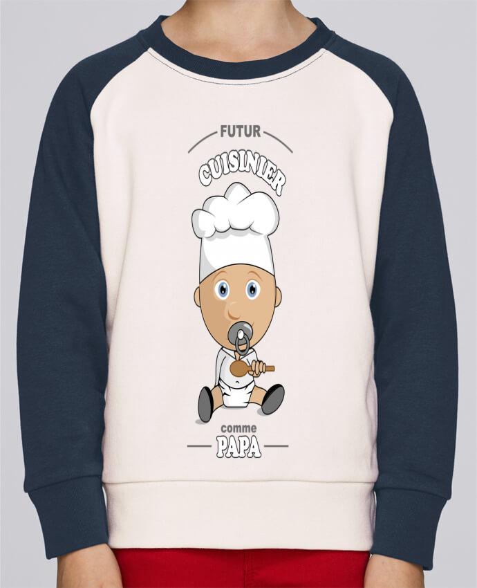 Sweat Shirt Col Rond Enfant Stanley Mini Contrast Futur cuisinier comme papa par GraphiCK-Kids