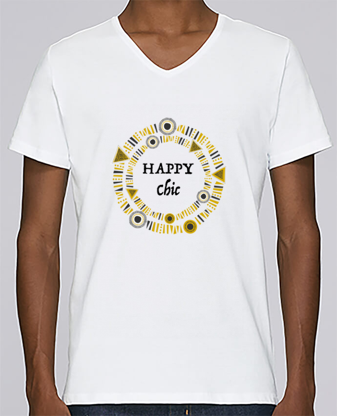 T-shirt Col V Homme Stanley Relaxes Happy Chic par LF Design