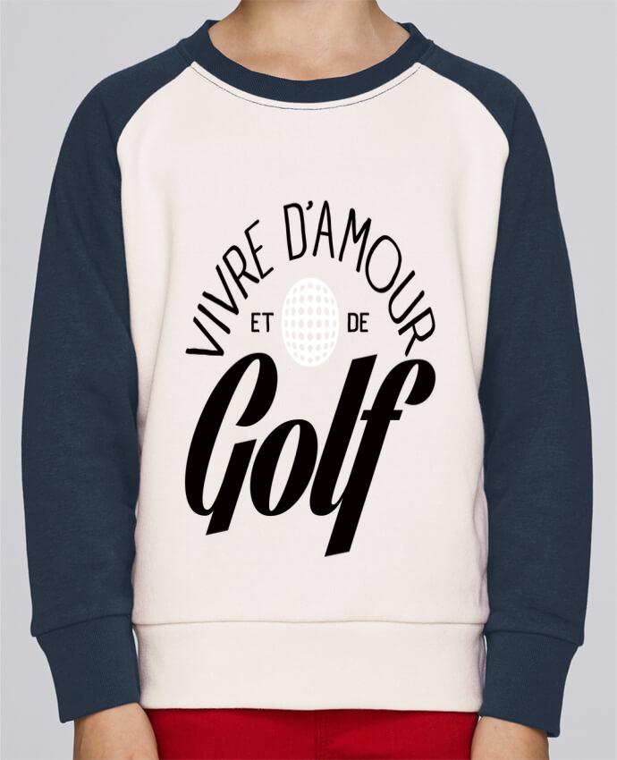 Sweat Shirt Col Rond Enfant Stanley Mini Contrast Vivre d'Amour et de Golf par Freeyourshirt.com