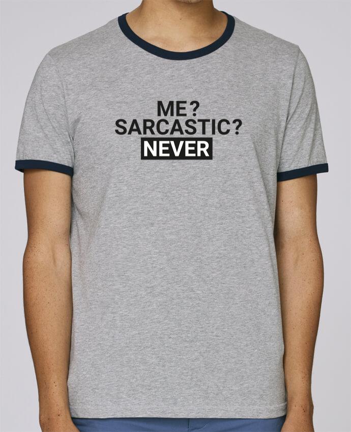 T-Shirt Ringer Contrasté Homme Stanley Holds Me sarcastic ? Never pour femme par tunetoo
