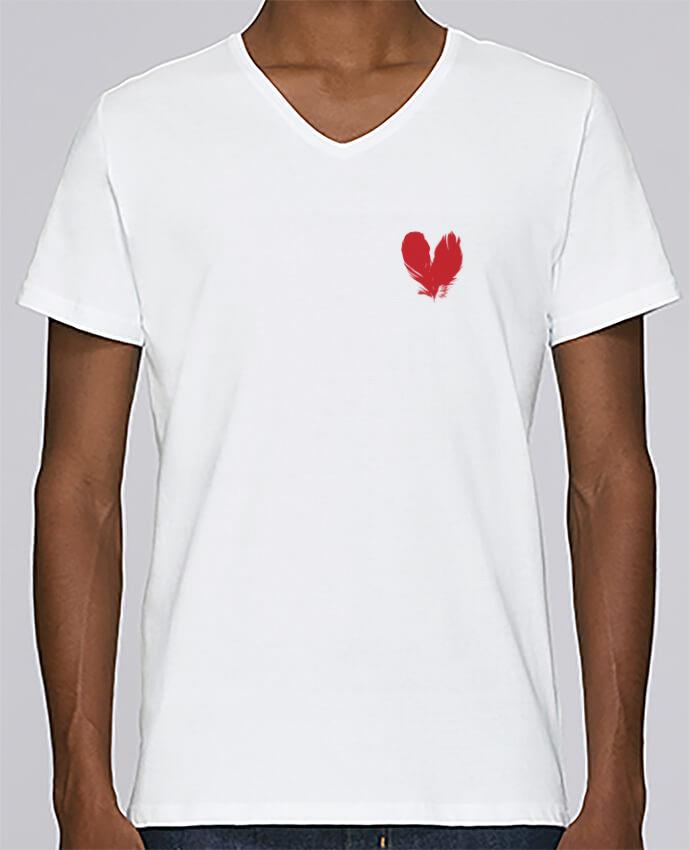 T-shirt Col V Homme Stanley Relaxes coeur de plumes par Studiolupi