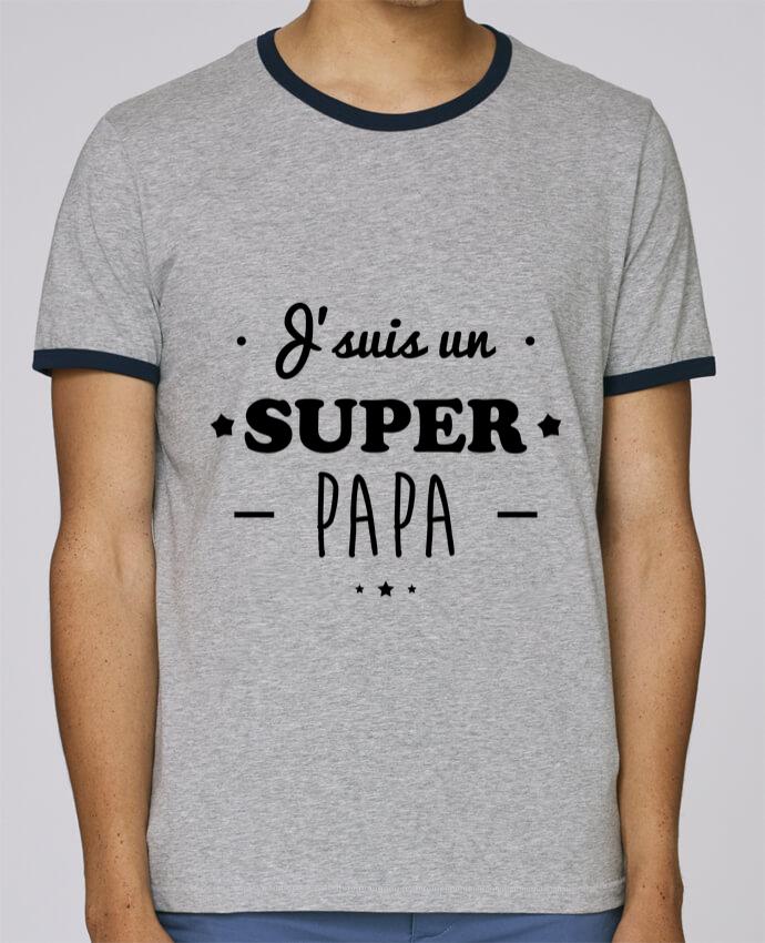 T-Shirt Ringer Contrasté Homme Stanley Holds Super papa,cadeau père,fête des pères pour femme par Benichan