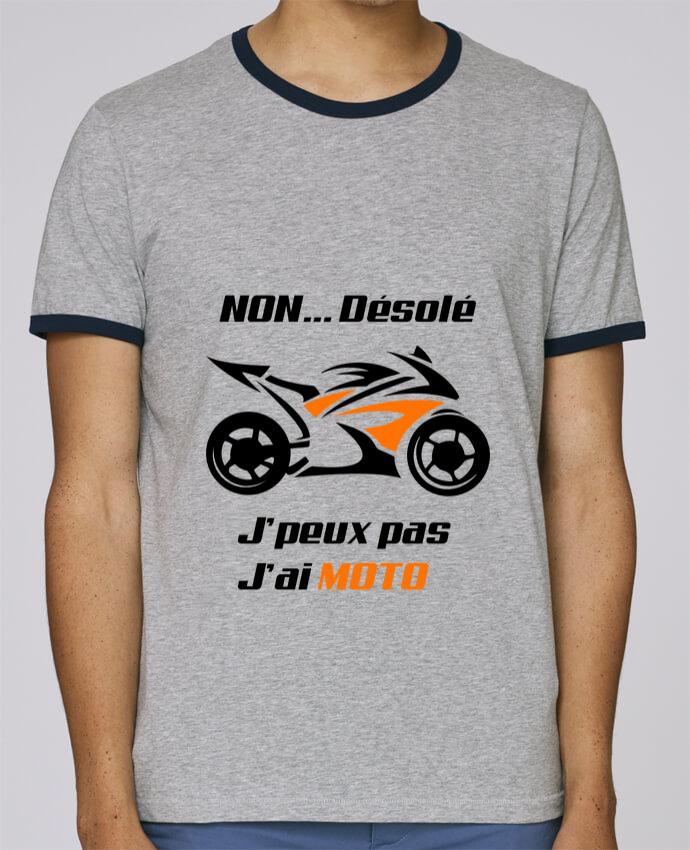 T-Shirt Ringer Contrasté Homme Stanley Holds J'peux pas j'ai moto pour femme par MotorWave's