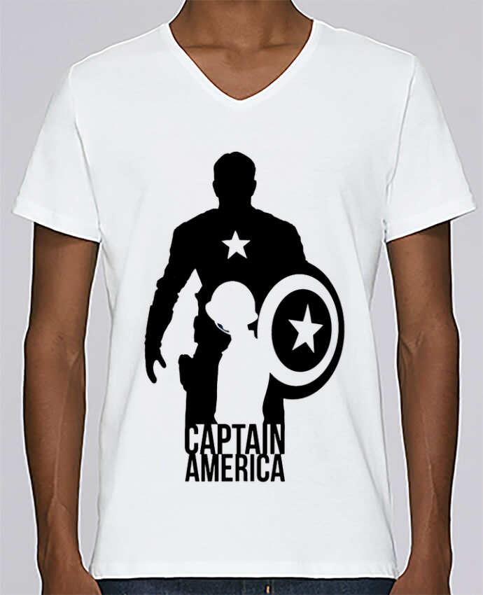 T-shirt Col V Homme Stanley Relaxes Captain america par Kazeshini