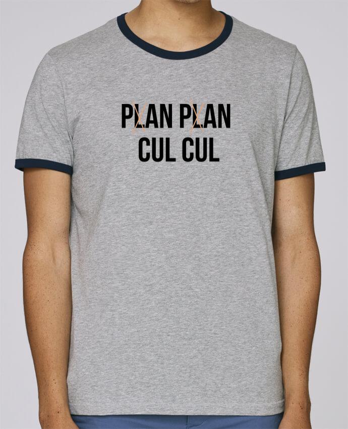 T-Shirt Ringer Contrasté Homme Stanley Holds Plan plan cul cul pour femme par tunetoo