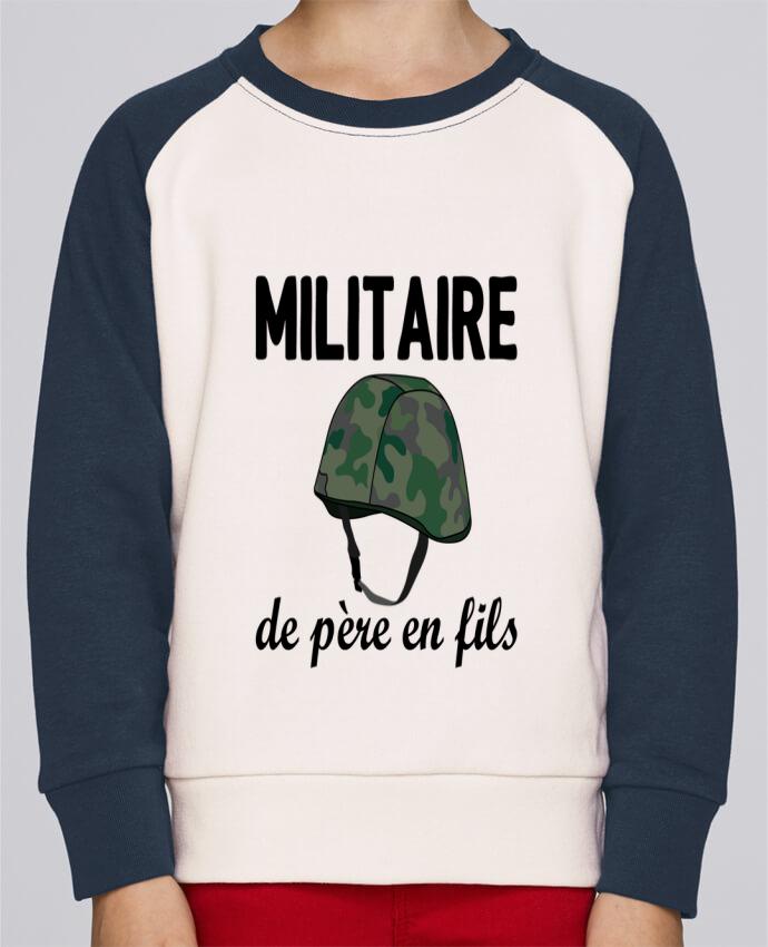 Sweat Shirt Col Rond Enfant Stanley Mini Contrast Militaire de père en fils par tunetoo