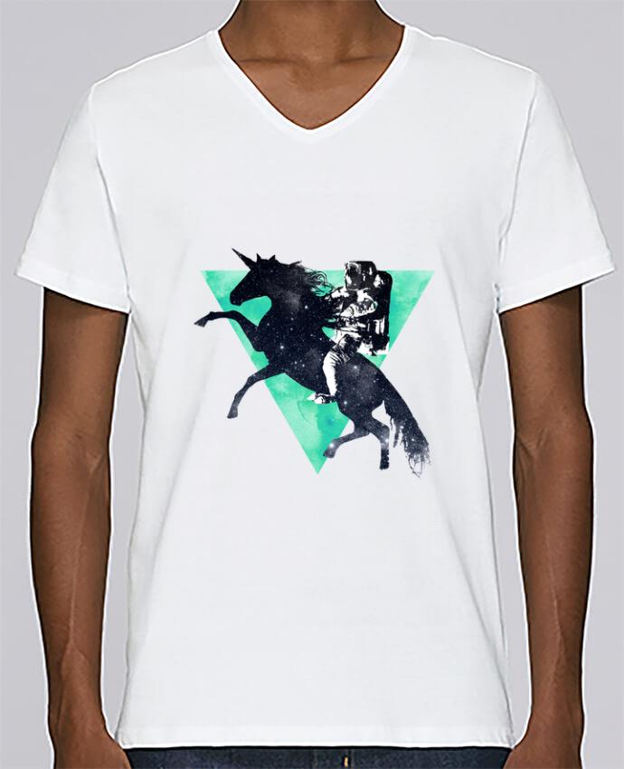 T-shirt Col V Homme Stanley Relaxes Ride the universe par robertfarkas