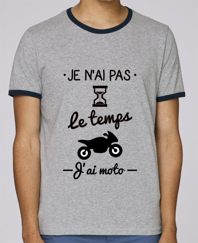 T-Shirt Ringer Contrasté Homme Stanley Holds Pas le temps j'ai moto, motard pour femme par Benichan