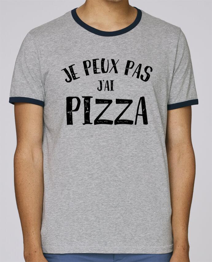 T-Shirt Ringer Contrasté Homme Stanley Holds Je peux pas j'ai Pizza pour femme par L'Homme Sandwich