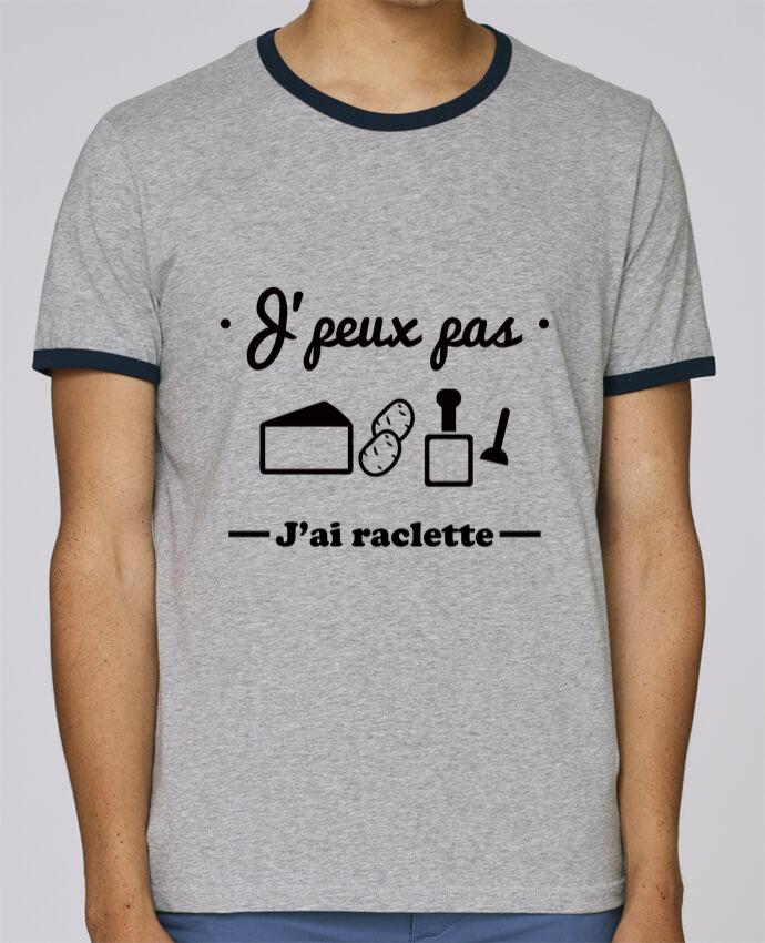 T-Shirt Ringer Contrasté Homme Stanley Holds J'peux pas j'ai raclette pour femme par Benichan