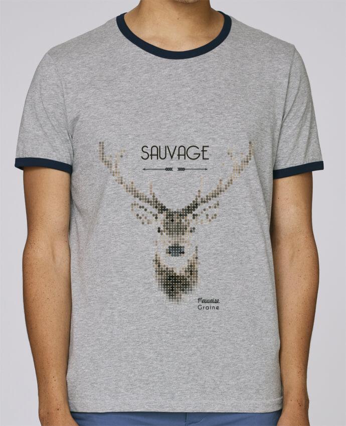 T-Shirt Ringer Contrasté Homme Stanley Holds Tête de cerf sauvage pour femme par Mauvaise Graine