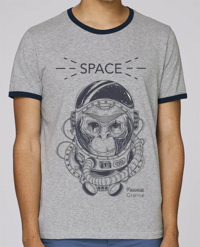 T-Shirt Ringer Contrasté Homme Stanley Holds Monkey space pour femme par Mauvaise Graine