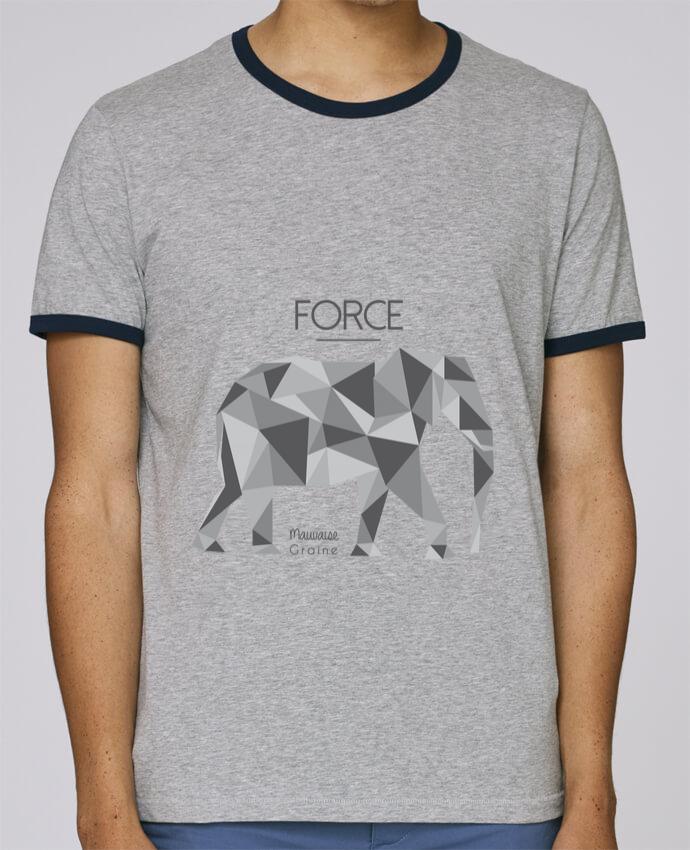 T-Shirt Ringer Contrasté Homme Stanley Holds Force elephant origami pour femme par Mauvaise Graine