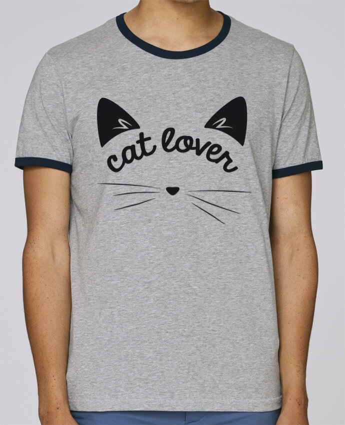 T-Shirt Ringer Contrasté Homme Stanley Holds Cat lover pour femme par FRENCHUP-MAYO